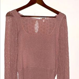 Free People Mauve Crystallized Lace Sweater